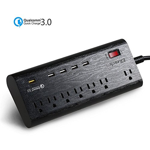 4x6' 2 Way Full Range (Power Strip Surge Protector, Multi 7 Way Outlet 1 QC 3.0 USB Port and 4 Smart USB Port Charging Station, Power USB Charger with Extension 5.9ft Cord (power strip with QC 3.0 USB))