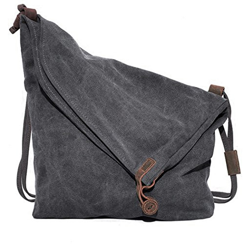 Canvas Unisex Tasche retro literarischen Hochschule Stil Schultertasche Messenger Bag koreanische Version (grau)