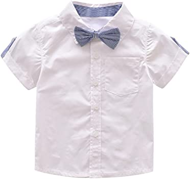 K-youth Conjunto para bebé niño, Ropa Bebe Niño Verano Camisa de Manga Corta Bebé Niño Caballero Corbata de moño y Pantalones Cortos de Tirantes Conjuntos bebé Niño (Blanco, 6-12 Meses): Amazon.es: Ropa