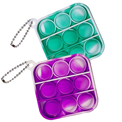 ZNNCO Mini Push Pop Fidget Keychain Toy,Fidgets Toys Bubble Wrap Pop Anxiety Stress Reliever Office Desk Toy for Kids Adults (Tie Dye Orange+Blue Square)