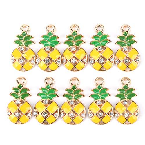 Rhinestone Key Plated Ring Silver - JUNKE 10-Pack Mini Plated Enamel Pineapple Charm Beads Rhinestone Charms Pendants Gift bead bracelet Accessories Jewelry Making Supplies DIY Crafts for Women Girls Kids, 12×23mm (Rhinestone pineapple)