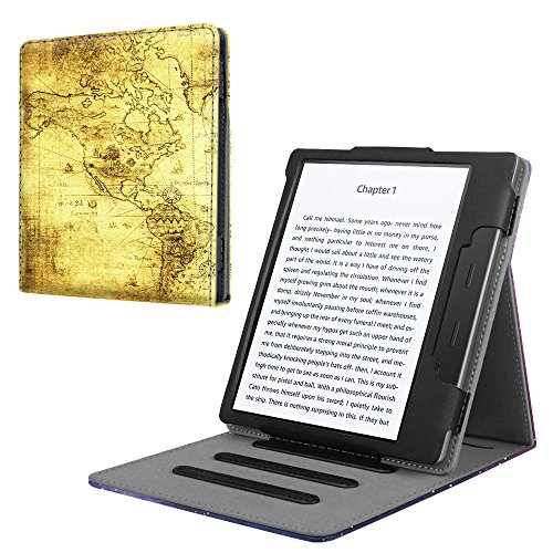 Fintie Stand Case for Kindle Oasis (9th Generation, 2017 Release ONLY) - Multi Angle Hands-free Viewing Flip Cover with Auto Sleep / Wake for Amazon All-New 7'' Kindle Oasis E-reader, Ancient Map by Fintie