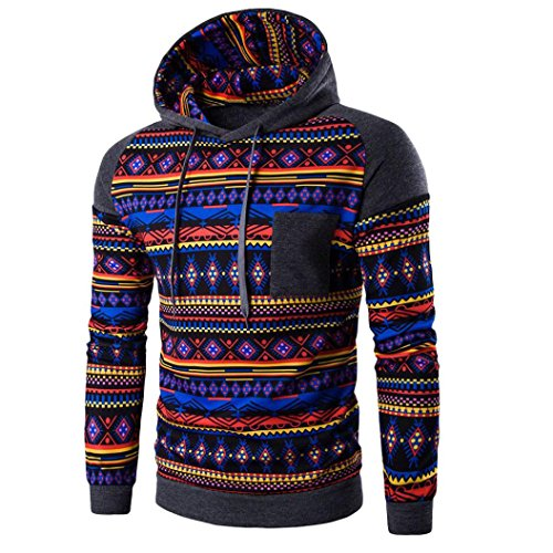 WOCACHI Herren Kapuzenpullover Männer Bohemian Retro Langarm-Kapuzenshirt mit Kapuze Sweatshirt Tops Jacken-Mantel Outwear Dunkelgrau (M, Dunkelgrau)