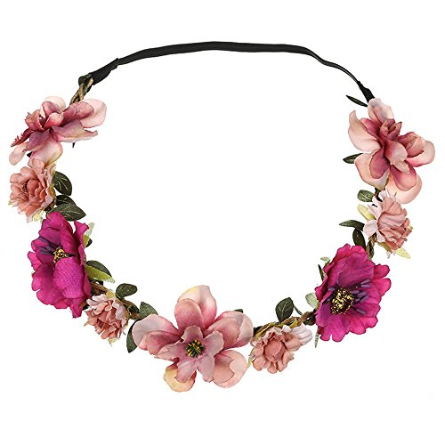 BCDshop Flower Headband Hair Band Wrap for Women Girls Ladies Boho Floral Hairband Party Festival Wedding Garland Accessories (Pink 1)