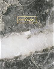 Notebook: Gray and White Marble and Quartz with Gold Lettering - Marble & Gold Journal   150 College-ruled Pages   8.5 x 11 - A4 Size