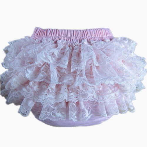 (Buenos Ninos Baby Girl's Soft Lace Top Baby Diaper Bloomer Pink)