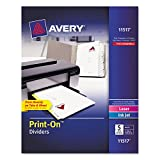 Avery 11517 Print-On Dividers, 8-1/2''x11'', 5TB/25ST, White