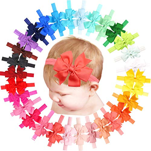 30PCS Colors Baby Girls Headbands with 3