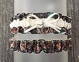 Sexy Dark Camouflage Ivory Satin Camo Wedding Bridal Garter SET - Double Heart Charm