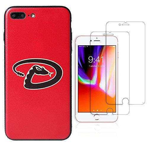"Sportula MLB Phone Case Matching 2 Premium Screen Protectors Extra Value Set - for iPhone 7 Plus/iPhone 8 Plus (5.5"") (Arizona Diamondbacks) ()"