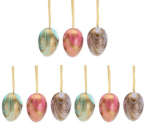 Marbled Pastel Hand Painted Colored Easter Egg Home Decor Ornament Assortment, 9 Pack ()