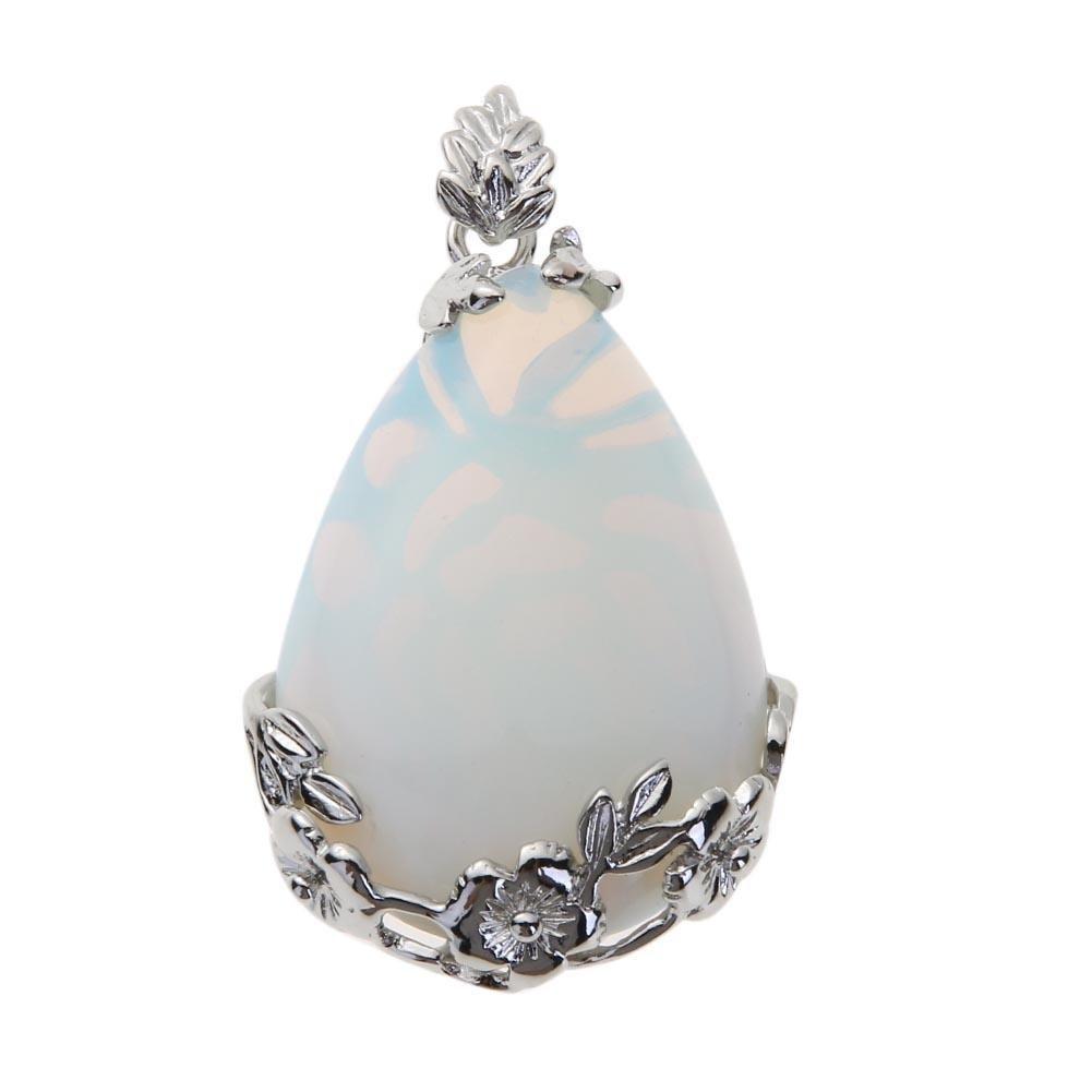 Diamondo Women Metal Flower Water Drop Stone Pendant Necklace(Opal)(No Lanyard) 1xy6fe7re5ey8ls1D01