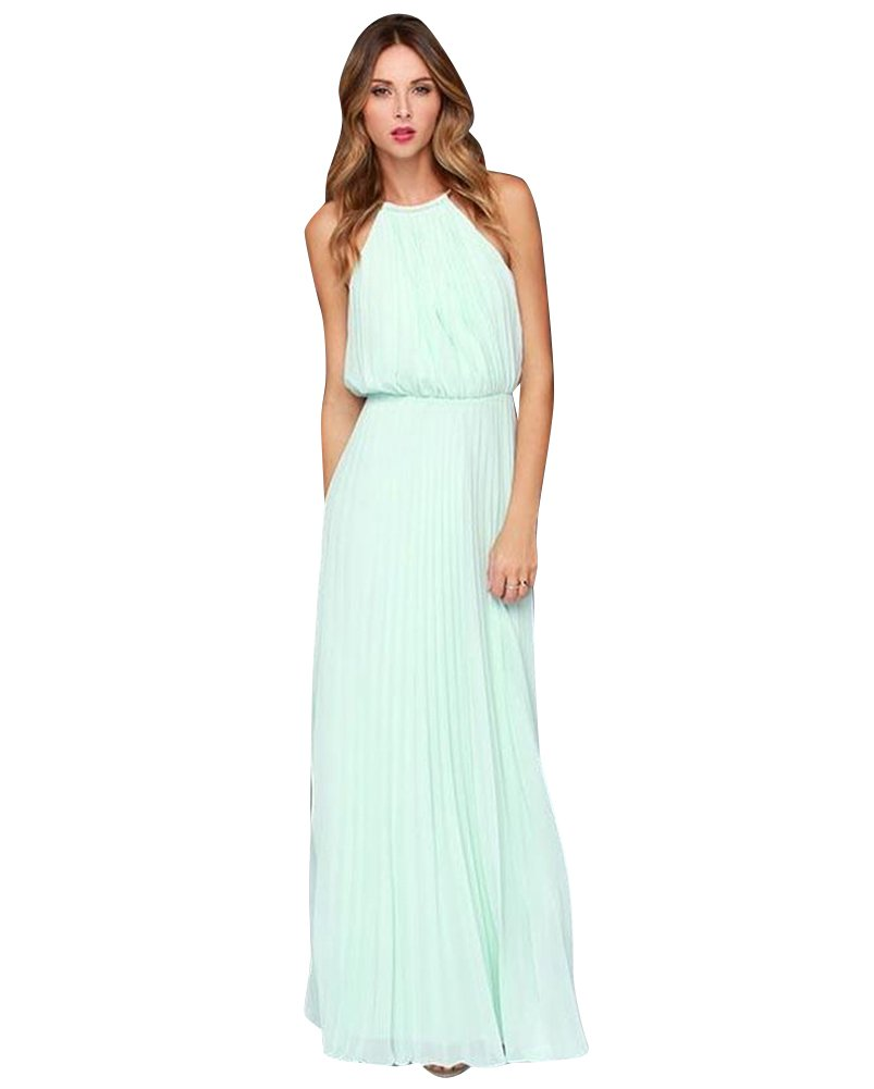 YipGrace Women's Halter Neck Chiffon Sleeveless Maxi Dress