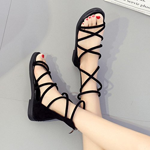 Moulants 2 Sandale forme Laceup Chaussures Plate Flops Taille Flip Plate Slingback Gladiateur De Cuir Mince Noir Femme Personnalisée 10 Toepost D'été Lolittas Plage 2 Sliiper zSPa6qPw