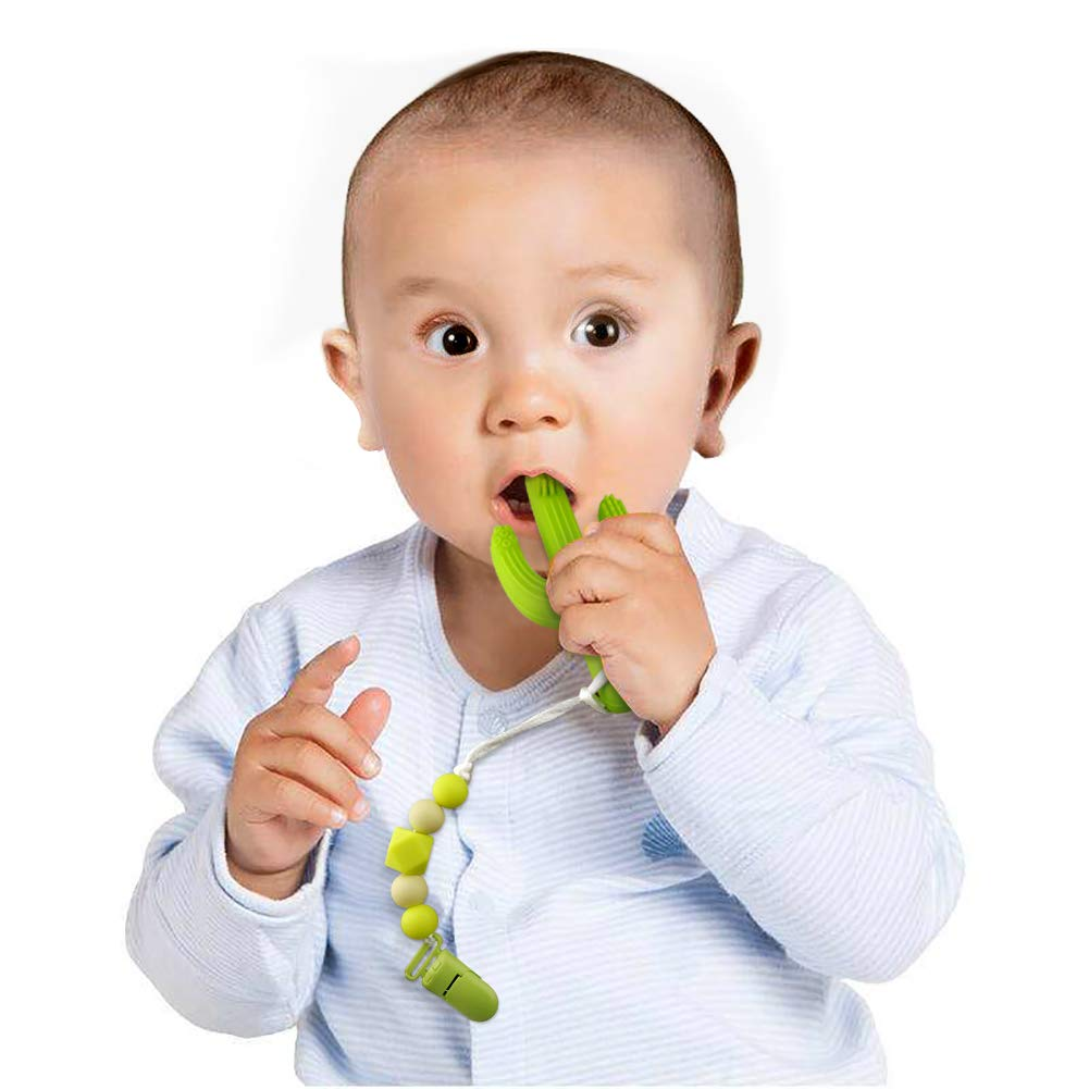 KEFU Baby Teether Toys Cactus Teething Toy Toothbrushc and Silicone Pacifier Clips,Self-Soothing Pain Relief Teether Training Toothbrush for Babies, Toddlers, Infants,BPA Free, (Green)