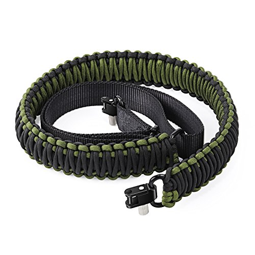 Gun Sling 550 Paracord Multi Use Survival Rifle Sling for Hunting Camping Outdoor Sports Black+Olive