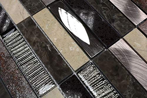 Mosaikfliese Transluzent Komposit wei/ß Verbund Glasmosaik Crystal Artificial silber wei/ß MOS86-VW48
