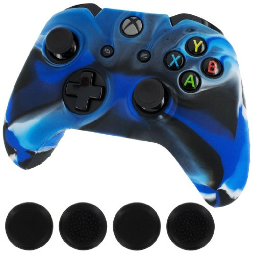 Price comparison product image Silicone Skin Protective Cover for XBOX One Controller [Camouflage Blue + Black Caps]