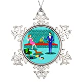 Touytlyd Personalised Christmas Tree Decoration Redhead Woman Metal Christmas Snowflake Ornaments Mid Century Modern Design Retro Couple with Dog