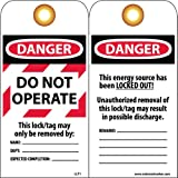NMC LLT1 Laminated Lockout Tag,''DANGER DO NOT OPERATE'', 3'' Width x 6'' Height, Vinyl, Red/Black on White (Pack of 25)