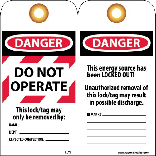 NMC LLT1 Laminated Lockout Tag,''DANGER DO NOT OPERATE'', 3'' Width x 6'' Height, Vinyl, Red/Black on White (Pack of 25) by NMC