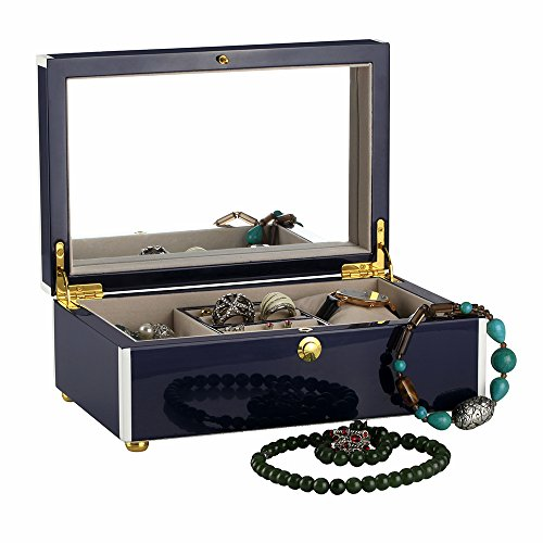 High Gloss Finish Jewelry (Hand Painted wooden jewel box, High Gloss wooden box, Lacquer wooden Jewelry Box, Storage wooden Box, Piano Finish Like As Mirror. (Navy blue))