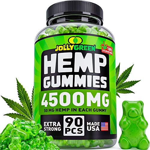 Hemp Oil Gummies 4500MG - 50 MG Each Gummy - Superstrong & USA Made - 100% Natural & Safe Hemp Extract - Tasty Hemp Gummies for Pain, Stress & Anxiety Relief - Sleep & Mood Support - Rich in Omega 3