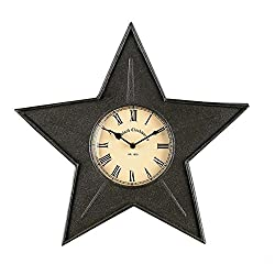 Vintage Star Metal Clock - Black - 16-in
