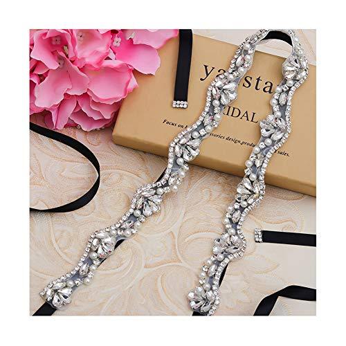 (Yanstar Black Bridal Belt Sashes Hand Silver Crystal Rhinestone Pearls Wedding Belt Sash For Bridal Gowns Bridesmaid Dress)
