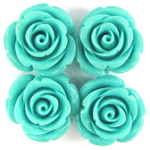 Buy carved flower pendant bead blue