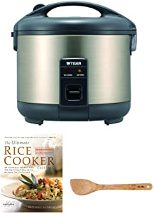 Tiger JNP-S15U 8-Cup Rice Cooker and Warmer, Stainless Steel Gray Includes Bamboo Spatula and Cookbook Bundle