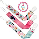 Pacifier Clip Girls by Liname - 3 Pack - Premium Quality Universal Pacifier Clip - Adorable 2-Sided Stylish Design - Soothie Pacifier Holder - Perfect Baby Shower Gift