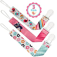 Pacifier Clip Girls by Liname - 3 Pack - Premium Quality Universal Pacifier C...