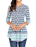 HAPPY SAILED Ladies Causal Floral Printed 3/4 Sleeve Button Collar Loose Long Tunic Tops Blouses