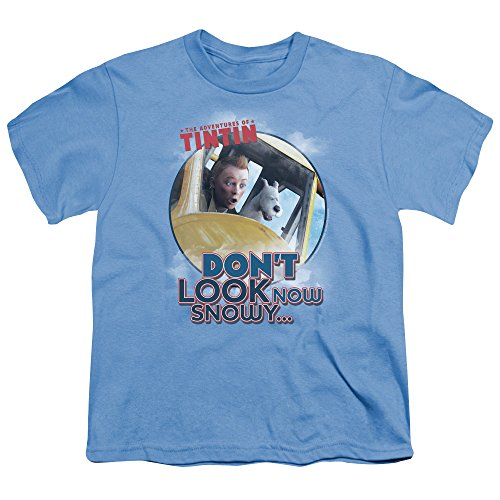 Tintin Dont Look Now Unisex Youth T Shirt for Boys and Girls, Medium Carolina Blue