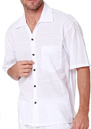 PURE COTTON White Short-Sleeve Casual Button Down Shirt Beautiful  Lightweight Straight Fit Shirt For Men at Amazon Men's Clothing store