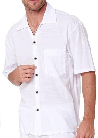 d4273873f63 Men s Natural Cotton Button Down Shirt White Short Sleeves Casual  Lightweight Pima Cotton Shirt (White