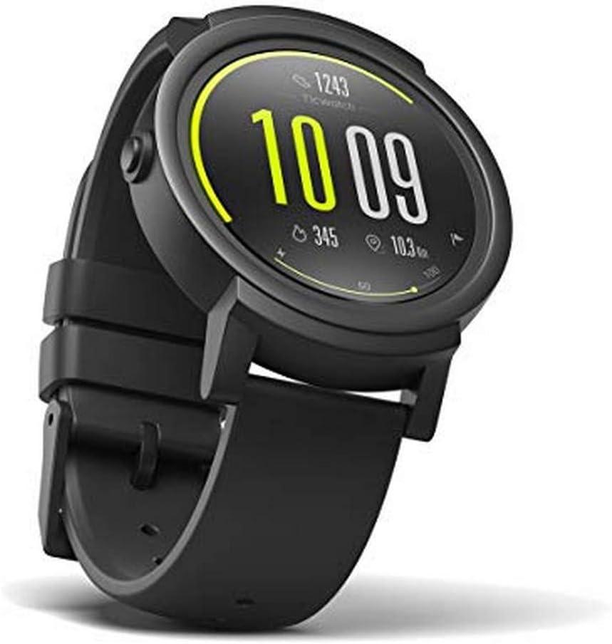 Ticwatch E Express - Reloj inteligente con pantalla táctil OLED, resistente al agua y compatible con iOS y Android, sistema Android Wear 2.0, color negro