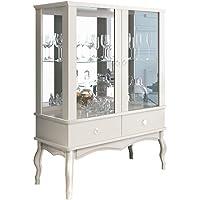 Cristaleira com Espelho 2 Portas Branca Luis XV EDN
