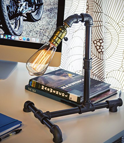 Loft Living Designer Steampunk Water Piping Desk Top Table Lamp Modern Antique Rustic Decor Steam Punk Industrial Craftsmanship Interior Design Bed Side Minimalist Victorian Edison Iron Retro - Modern Punk Style