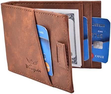 Woogwin RFID Bifold Slim Wallet Mens Minimalist Front Pocket Wallet Money Clip