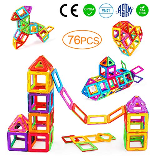 Tomons Magnetic Blocks for Kids, 76 Pcs Magnet Building Tiles Block Construction Toys, Creativity Kids Educational Toys Brain Games for Kids with Guide Booklet for Edutainment Gift ( Carrying Bag)