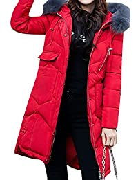 SHOWNO-Women Winter Faux Fur Hood Pockets Long Down Puffer Quilted Coat Overcoat