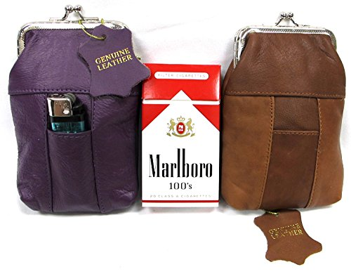 Two Piece Set Genuine Leather Cigarette Case 1PURPLE + 1Lt. BROWN Fit 100s Pack
