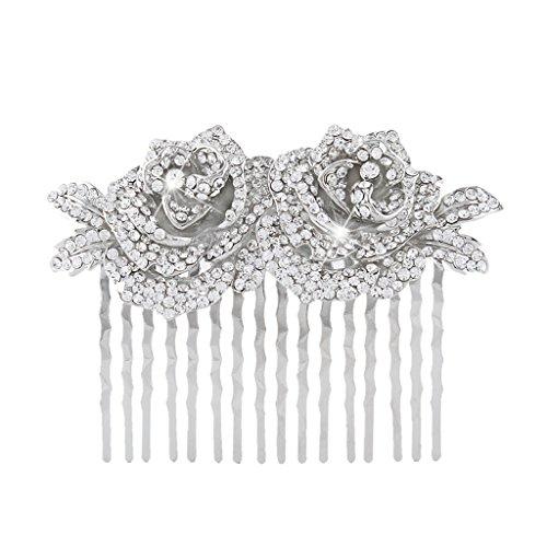 EVER FAITH Women's Austrian Crystal Wedding Bridal Rose Flower Leaf Hair Comb Clear Silver-Tone (Tone Roses Wedding)