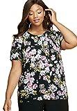 Jessica London Women's Plus Size Fine Gauge Crewneck Shell Black Bouquet
