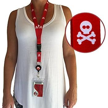Cruise Lanyard - ID & Key Card Holder (waterproof) by CRUISE ON - Skull & Crossbones Pattern [2 Pack]