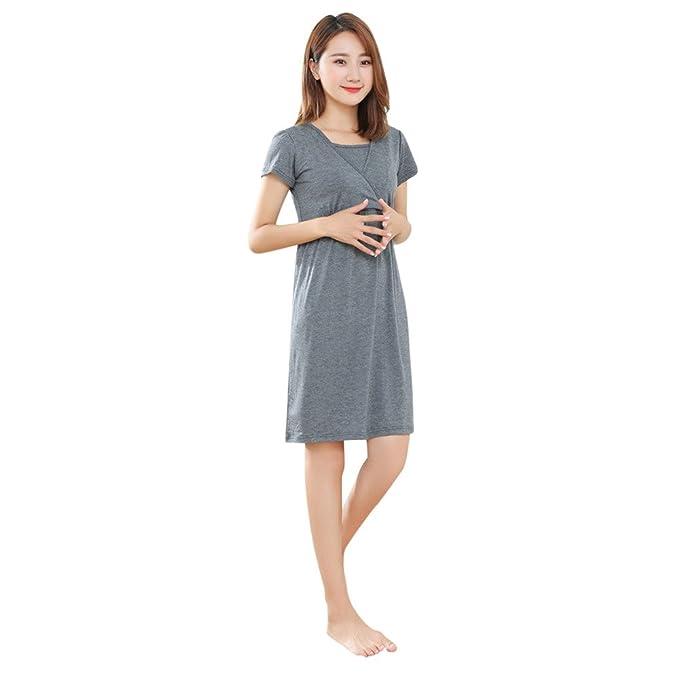 SamMoSon 2019 Jersey Camison Ropa Premama Verano Sujetador Lactancia Vestidos para Camison,Madre Embarazadas Bebé
