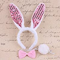 Partymane Girl's Cosplay Costume Rabbit Bunny Ears Hair Hoop Headband and Bowtie Tail Set (White with Pink Ears Glitter)