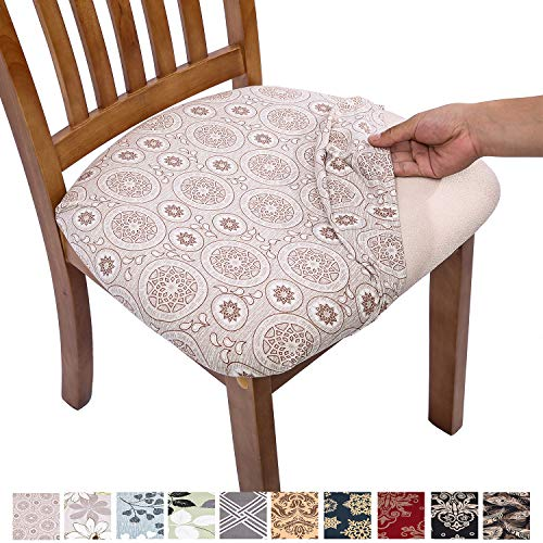 Comqualife Stretch Printed Dining Chair Seat Covers, Removable Washable Anti-Dust Upholstered Chair Seat Cover for Dining Room, Kitchen, Office (Set of 4, Khaki)